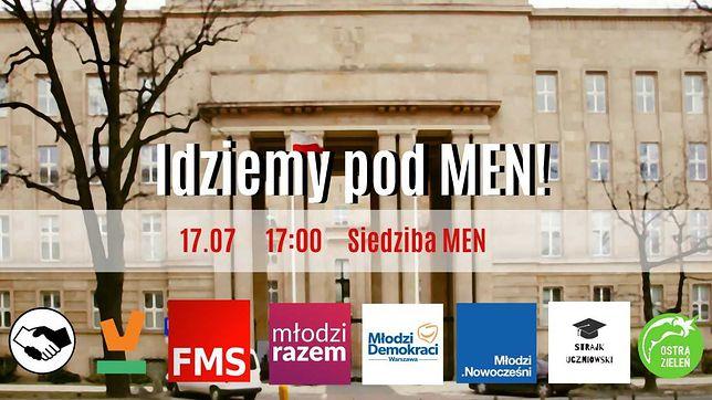 Strajk uczniowski przed ministerstwem edukacji