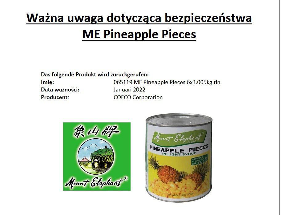 GIS wycofuje produkt. Drut w puszce ananasów marki Mount Elephant