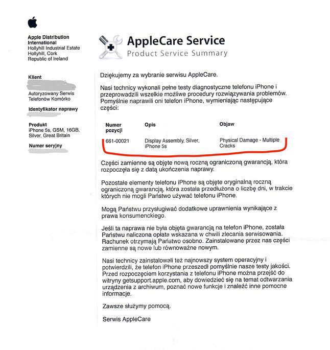 Potwierdzenie naprawy z centrum serwisowego Apple. Dołączane jest do każdego, naprawianego urządzenia.