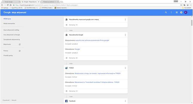 Google wiedzą, co ostatnio robiłem w Internecie