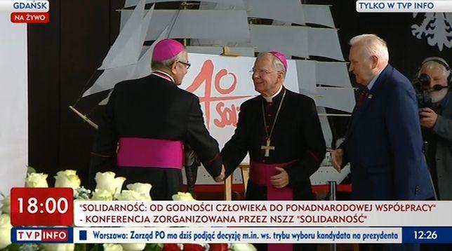 """Konferencja """"Solidarności"""". Duda, Kurski, Głódź i Jędraszewski w sali BHP"""