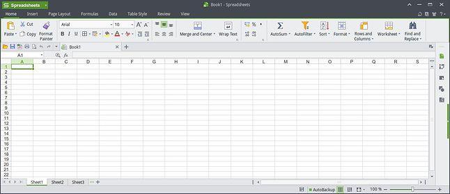 WPS Spreadsheets - arkusz kalkulacyjny z wstążką