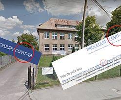 """""""COVIT-19""""? Czytelniczka zażenowana. Zdjęcie strony internetowej szkoły"""