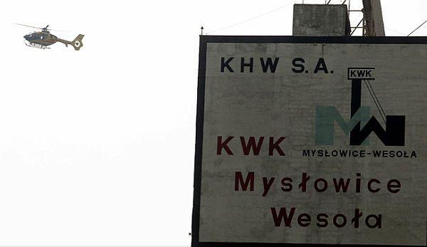 """Helikopter ratunkowy nad terenem KWK """"Mysłowice-Wesoła"""""""