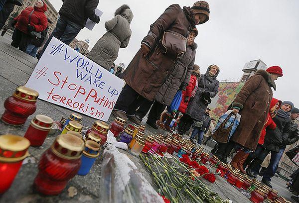 Demonstracja w Kijowie po ostrzale Mariupola