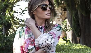 Melania Trump w kwiecistej sukience spaceruje po Sycylii