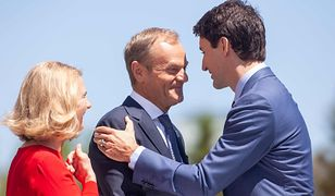 Donald Tusk z żoną na szczycie G7. Kolorowe sukienki kobiet i buziaki między politykami