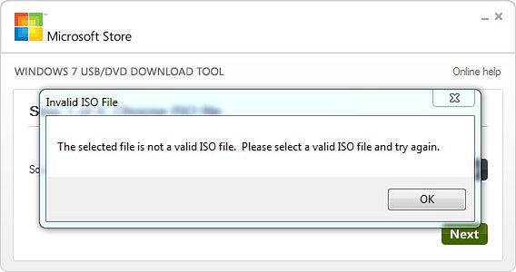 ...not a valid ISO file...