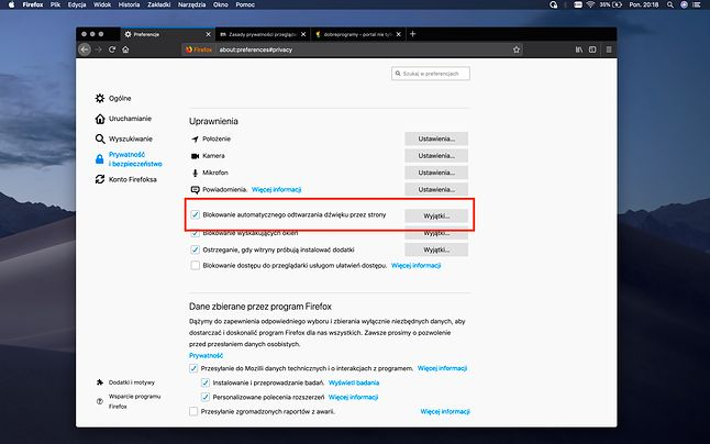 Ustawienia dostępów w Firefoxie 66