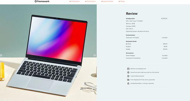 Framework Laptop nie jest tani, ale nie odbiega ceną od podobnych konstrukcji