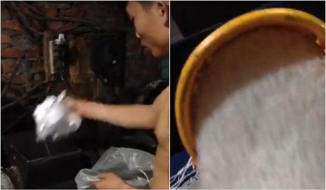 Przerażająca produkcja ryżu w Azji. W sieci krąży filmik, na którym widać przetwarzany plastik