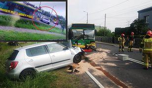 21-latek z impetem wjechał w autobus. Wypadek na Śląsku nagrała kamera