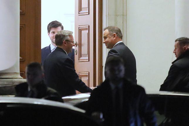 Andrzej Duda i Krzysztof Szczerski przed spotkaniem w Belwederze