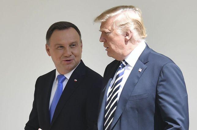 Prezydent Andrzej Duda z prezydentem Donaldem Trumpem, chwilę po ogłoszeniu podpisania strategicznych umów bilateralnych w dziedzinie obronności
