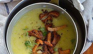 Zupa z młodych porów i ziemniaków z kurkami