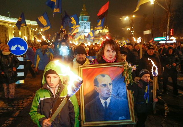 Manifestacja nacjonalistów ukraińskich w Kijowie z okazji 105 rocznicy urodzin Stepana Bandery