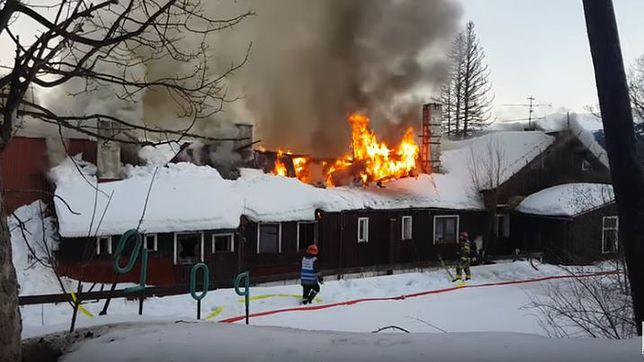 """Płonący budynek to nieczynny już Ośrodek Wypoczynkowy """"Polon"""""""