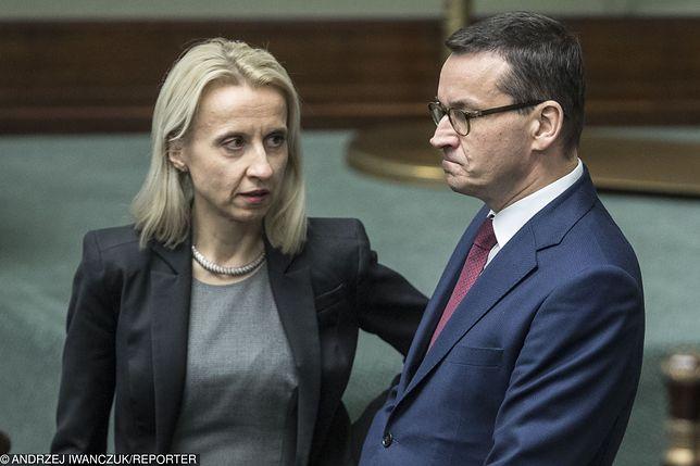 Minister Finansów Teresa Czerwińska i premier Mateusz Morawiecki w Sejmie