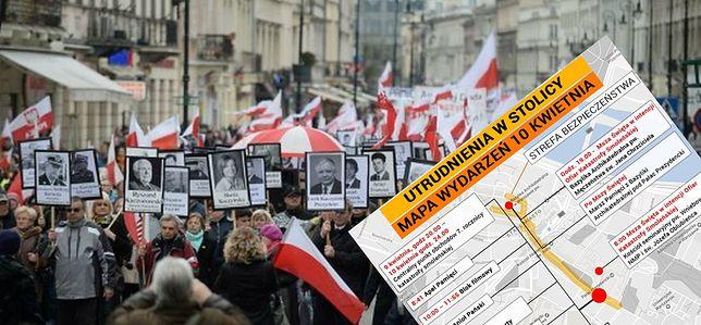 7. rocznica katastrofy smoleńskiej. Sprawdź, co się będzie działo na Krakowskim Przedmieściu [MAPA]