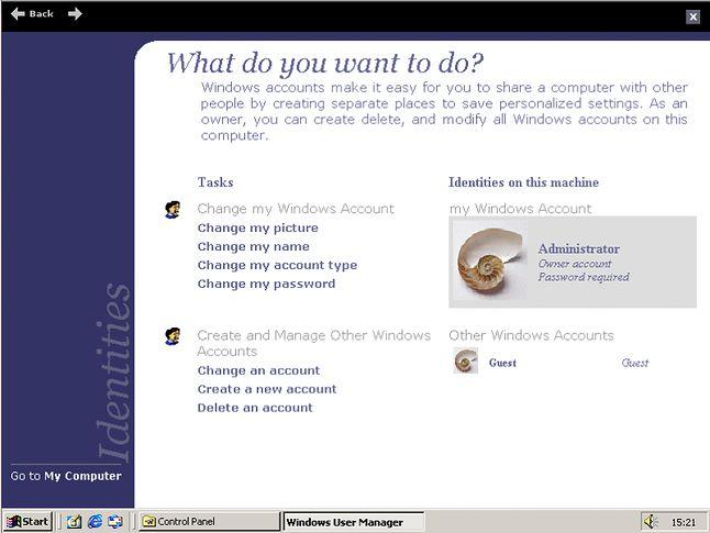 Konta Użytkowników, aplet który przebił się do Windows XP