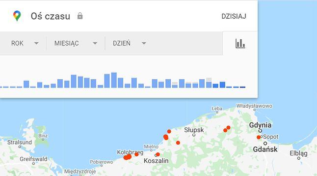 Oś czasu w Mapach Google