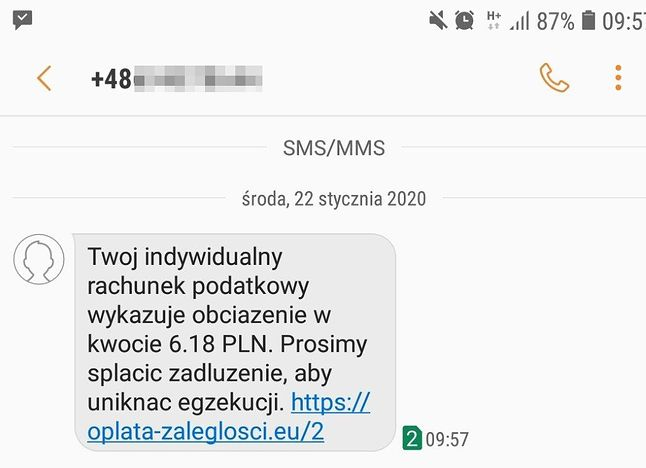 Treść fałszywego SMS-a, źródło: tvn24bis.pl.