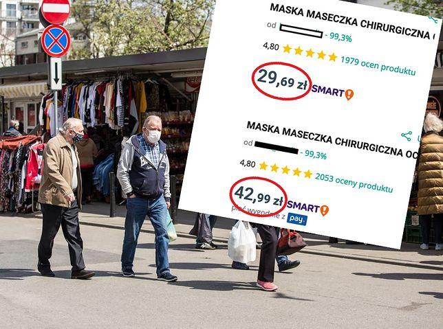 Sprzedawcy na Allegro już wyczuli interes. Ceny maseczek w ciągu 24 godzin poszły ostro w górę