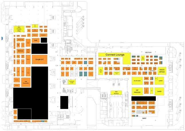 Mapa stoisk na GDC 2020 z uwzględnieniem rezygnacji, fot. Ars Technica