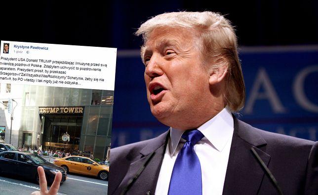 """Pawłowicz przed Trump Tower. """"Zdążyłam uchwycić to pozdrowienie aparatem"""""""