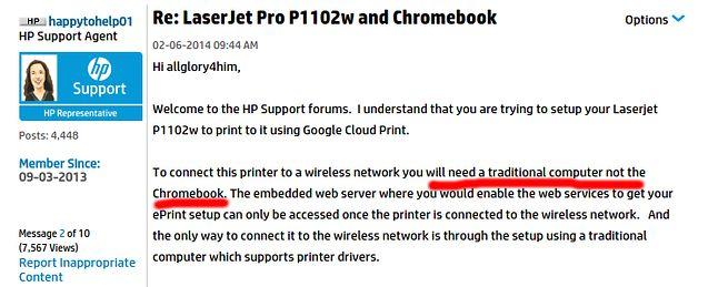 Rada HP dla użytkowników Chromebooków. Do konfigurcacji drukarki w chmurze, użyj zwykłego komputera.