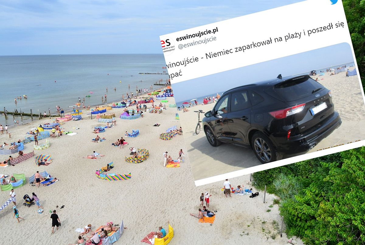 Niemiecki turysta postanowił zaparkować swój samochód między leżakami i parawanami