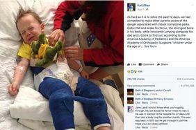 3-latek złamał kość udową w trakcie zabawy na trampolinie. Matka ostrzega