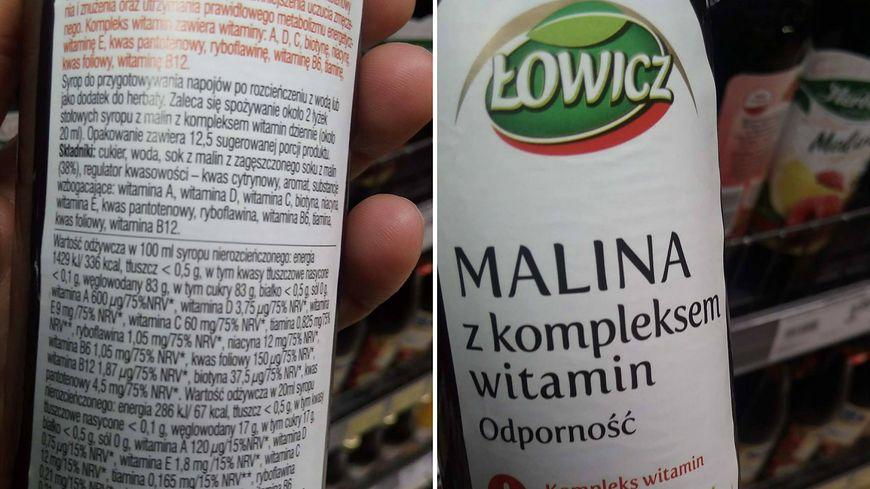 Syrop marki Łowicz na pierwszym miejscu w składzie ma cukier