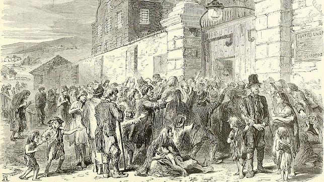 Irlandczycy przed wejściem do przytułku w czasie wielkiego głodu