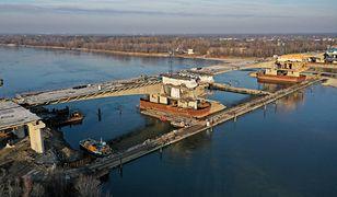 Styczeń 2020. Budowa mostu Południowego. Przeprawa będzie stanowić fragment Południowej Obwodnicy Warszawy