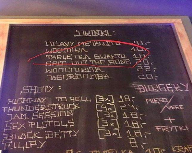 """""""Tabletka gwałtu"""" za 18 złotych. Taki zapis w menu odnajdziemy w łódzkim klubie"""