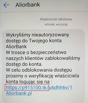 Fałszywy SMS. Źródło: Alior Bank