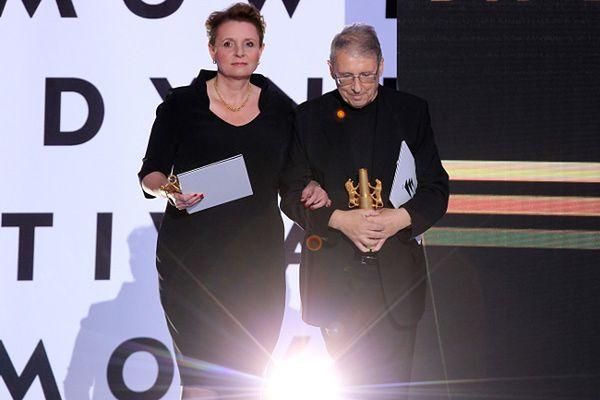 Minister kultury i dziedzictwa narodowego Małgorzata Omilanowska i przewodniczący jury, reżyser Ryszard Bugajski podczas Festiwalu Filmowego w Gdyni