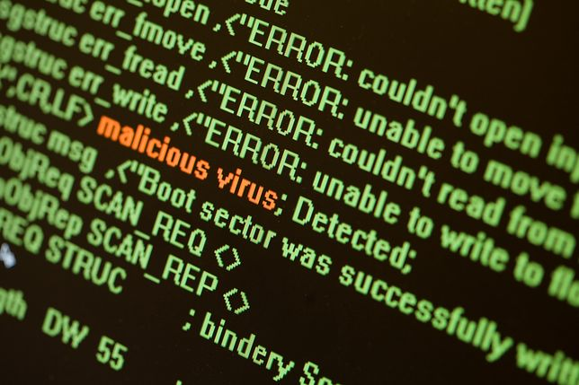 Bad code on screen.Computer security concept