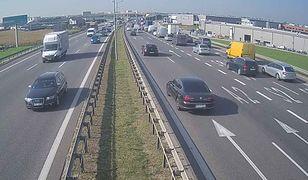 Widok z monitoringu na trasę S8, węzeł Konotopa w kier. Poznania