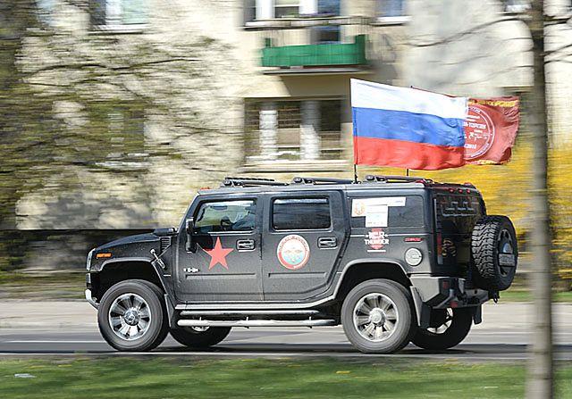 Rosyjski rajd na ulicach Warszawy - zdjęcia