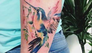 Tatuaż koliber w wersji kolorowej to ciekawa propozycja dla kobiet odważnych.