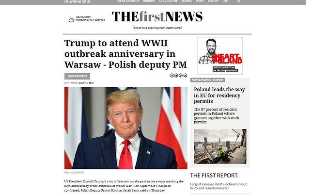 Amerykańskie media informują o wizycie Donalda Trumpa w Polsce powołując się na WP