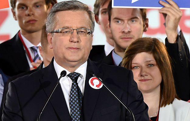 Prezydent Bronisław Komorowski podczas wieczoru wyborczego