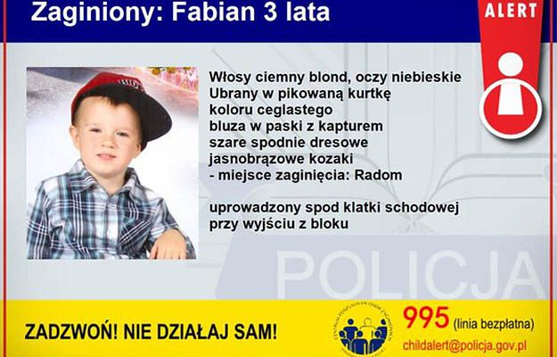 Child Alert: trzyletni Fabian uprowadzony w Radomiu. Zatrzymano 5 osób