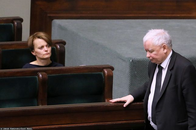 Sejm. Jadwiga Emilewicz i Jarosław Kaczyński