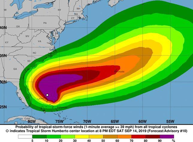 Burza tropikalna Humberto jest coraz bliżej i przekształca się w huragan. Bahamy zagrożone
