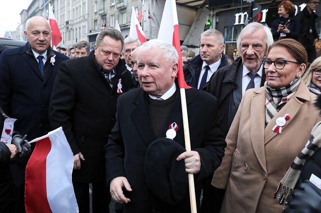 Jarosław Kaczyński na marszu 11 listopada 2018 r.