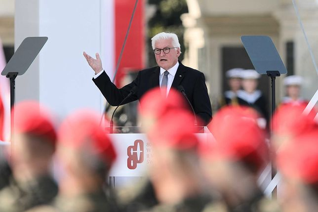 Reperacje wojenne. Prezydent Niemiec Frank-Walter Steinmeier podczas warszawskich obchodów 80. rocznicy wybuchu II wojny światowej