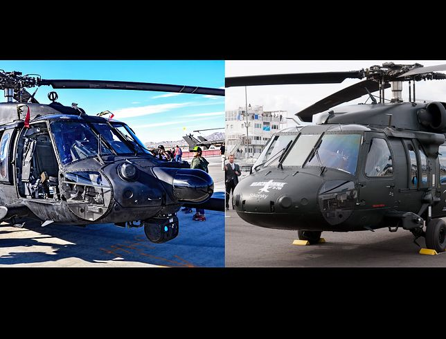 Po lewej śmigłowiec MH-60M ze 160 Pułku Lotniczych Operacji Specjalnych US Army. Po prawej S-70i produkowany przez PZL Mielec